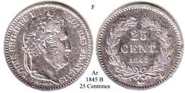 F-1845 B, 25 Centimes - Francia