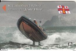 "JERSEY ISL. - St.Catherine""s Lifeboat/Atlantic 21 ""Jessie Eliza"", CN : 46JERA(0 With Barred), Tirage %25000, Used - United Kingdom"