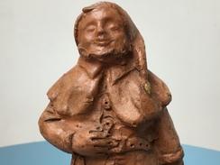 Oud Beeldje PATJOEPELKE 1939 Sculptuur In Terracotta Yvonne Waegemans Lokeren Kabouter Sprookje Dwarf Gnome Nain - Sculpturen