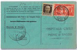 Ricevuta Di Ritorno Padova -> Piove Di Sacco Viaggiata 1941 - Storia Postale