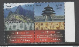 PERU, 2016, MNH, DIPLOMATIC  RELATIONS WITH CHINA, MACHU PICCHU, MOUNTAINS, BEIJING FORBIDDEN CITY,2v - Other