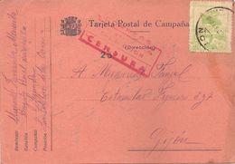 Tarjeta Postal De Campaña, Consejo De Asturias Y León, Con Censura En Rojo, 7 De Septiembre De 1937 - Asturië & Leon