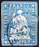 SUISSE                N° 27     Aminci             OBLITERE - 1854-1862 Helvetia (Ungezähnt)