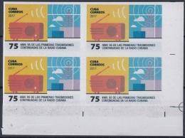 2017.50 CUBA 2017 MNH. PROOF IMPERFORATE. 75c. 95 ANIV TRANSMISIONES CONTINUAS DE RADIO. - Imperforates, Proofs & Errors