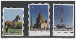 TURKMENISTAN ,2014,  MNH,  HORSES, ARCHITECTURE, MONUMENTS, 3v - Horses