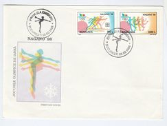 1998 ROMANIA FDC Olympics SKIING, FIGURE SKATING,  Ski Olympic Games Ice Sport Cover - Winter 1998: Nagano