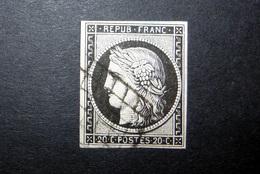 FRANCE 1849 N°3 OBL. (CÉRÈS. IIÈME RÉPUBLIQUE. 20C NOIR SUR JAUNE. LÉGENDE REPUB FRANC. NON DENTELÉ) - 1849-1850 Ceres