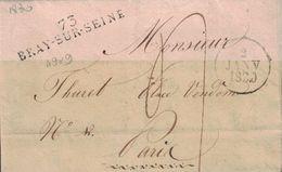 SEINE ET MARNE - 73 BRAY-SUR-SEINE - LETTRE AVEC TEXTE ET SIGNATURE LE 2 JANVIER 1830 - (P1) - Marcophilie (Lettres)