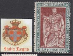 ITALIA REGNO  - 1928  Emanuele Filiberto 30 Cent. Dent Rara 13¾ Sassone N.232  Cat. 112,5 Euro Gomma Integra - MNH** - 1900-44 Victor Emmanuel III