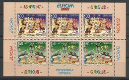 Bosnia Yugoslavia Republika Srpska Serbia Mi.241D/42D Sheetlet From Booklet, Mi.H-Blatt 5 MNH / ** 2002 Europa Circus - 2002