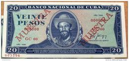 1988, Billete MUESTRA De VEINTE PESOS, Crispy UNC. (specimen) último Año De Este Diseño. - Cuba