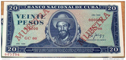 Cuba 1988, Billete MUESTRA De VEINTE PESOS, Crispy Gem-UNC. (specimen) último Año De Este Diseño. - Cuba