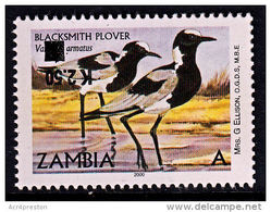 Zm1126a ZAMBIA 2014, K2.50 INVERTED On 'A' Bird Blacksmith Plover  MNH (Issued 02-05-2014) - Zambia (1965-...)