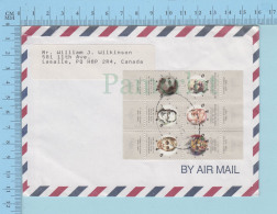Israel - Block Of 6 Stamps, Modern Hebrew Writer From Israel To Canada By Air Mail, 1996 - Israel