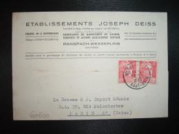 CP TP M. DE GANDON 6F X2 OBL.22-3-1949 WESSERLING HAUT-RHIN (68) Ets JOSEPH DEIS - Postmark Collection (Covers)