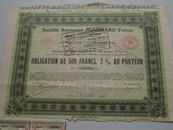 JOANNARD Frères ( Lyon ) Obligation De 500 Francs N° 02591 / 1928 ( Voir Photo Pour Detail )! - Actions & Titres
