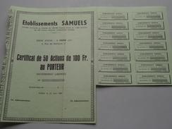 Ets. SAMUELS ( Paris ) Certificat De 50 Actions De 100 Francs Au Porteur - N° .... / 1967 ( Voir Photo Pour Detail )! - Actions & Titres