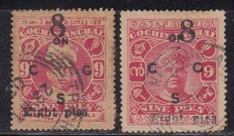 2 Diff., Cochin, British India State, Service / Official Used 1923, Surcharged 8p On 9p - Cochin