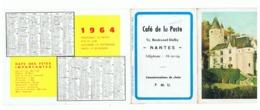 Calendrier De Poche - 1964 - Café De La Poste à NANTES, Carte Routière,...(fr55) - Calendriers