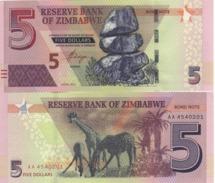 ZIMBABWE   New Issue     5 Dollars  Pnew    Dated  2016   UNC. - Zimbabwe