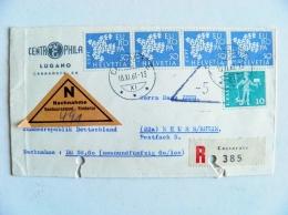 Cover Switzerland 1961 Europa Cept Triangle Label Nachnahme Registered Cassarate - Suisse