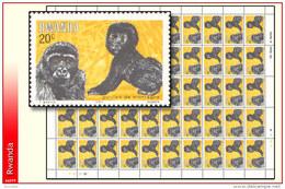 Rwanda 1177** 20c Gorilles II  Sheet / Feuille De 50  MNH - 1980-89: Neufs