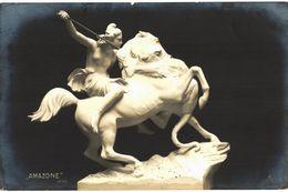 CPA N°12001 - LOT DE 2 CARTES LE CHAMPION AU LION - WOLFF + AMAZONE - KISS - Skulpturen