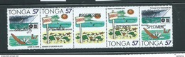 Tonga 1991 Accident Safety  57s Strip Of 4 With Central Label (bi-lingual Pairs X 2) MNH Specimen Overprints - Tonga (1970-...)