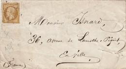 """N° 9 Seul Sur Lettre. ETOILE DE PARIS. Paris Pour Paris En Ville. """"ROUQUETTE 244 Bd St DENIS PARIS"""" - 1849-1876: Classic Period"""
