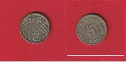 Jaeg # 12  --  5  Pfennig 1909 F  --  état TTB - [ 2] 1871-1918: Deutsches Kaiserreich
