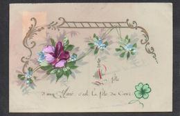 CPA FANTAISIE CELLULOID CELLULOIDE - DORURE OR - Art Nouveau - Art Déco - Peinte à La Main - Trèfle - Fleurs -#509 - Fêtes - Voeux