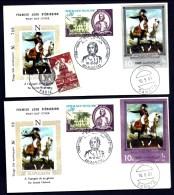 LOT 2 FDC NAPOLÉON 1er- YEMEN- TIMBRE DENTELÉ + NON DENDENTELÉ- CAD SANA'A  DU 16-9-69 + TIMBRES FRANCE- CAD AJACCIO- - Napoleone