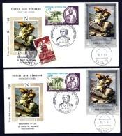 LOT 2 FDC NAPOLÉON 1er- YEMEN- TIMBRE DENTELÉ + NON DENDENTELÉ- CAD SANA'A  DU 16-9-69 + TIMBRES FRANCE-CAD AJACCIO- - Napoleone