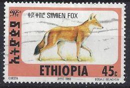 """Ethiopia 1994  Simien Fox  45c (o) """"Dated 1993"""" - Ethiopia"""
