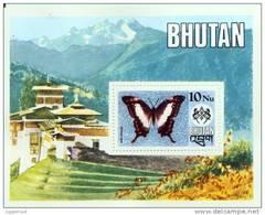 DABASA GYAS BUTTERLFY 10NU SOUVENIR SHEET BHUTAN 1975 MINT MNH - Butterflies