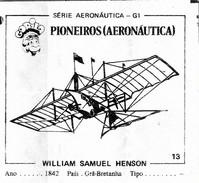 BUBBLE GUM / CHEWING GUM: GORILA - AERONAUTICAL SERIES / (1) PIONEERS - 013 WILLIAN SAMUEL HENSOM - Vieux Papiers