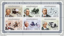 GUINE BISSAU 2008 SHEET PIONEERS OF TRANSPORT HENRY FORD DUNLOP BENZ DAIMLER LALLEMAN MAYBACH CARS BICYCLES Gb8506a - Guinea-Bissau
