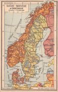 ¤¤  -  DANEMARK - SUEDE - NORVEGE  -  Carte Géographiquedes éditions Jeheber  -  ¤¤ - Danemark