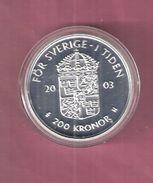 ZWEDEN 200 KRONER 2003 SILVER FDC 200TH ANN. REIGN CARL GUSTAV - SCRATCHES ONLY ON CAPSEL; - Sweden
