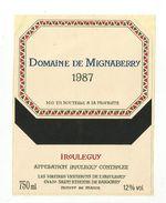 ETIQUETTE DOMAINE DE MIGNABERRY IROULEGUY 1987 SAINT ETIENNE DE BAIGORRY - Altri