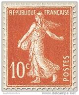 Type Semeuse Fond Plein Sans Sol, Grasses. 10c. Rouge (IA) Y138 - Frankreich