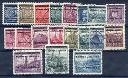 BOHEMIA And MORAVIA 1939 Overprints On Czechoslovakia Definitives Complete Used.  Michel 1-19 - Occupation 1938-45