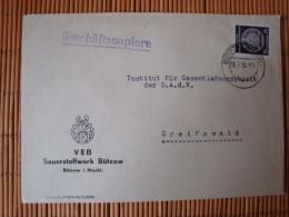 DDR, Dienstpostbrief  Mit Marke A, 15 Pfg. Zirkelbogen Rechts, VEB Sauerstoffwerk Bützow, Gelaufen 1958 - Dienstpost