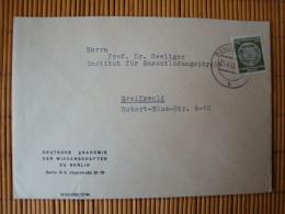 DDR, Dienstpostbrief  Mit Marke A, 20 Pfg. Zirkelbogen Rechts, Deutsche Akademie Der Wissenschaften Zu Berlin, Gel. 1958 - Dienstpost