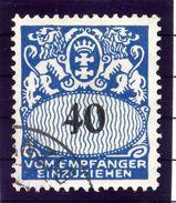 DANZIG 1938 Postage Due 40 Pf. With Swastika Watermark Used.  Michel Porto 45 - Danzig