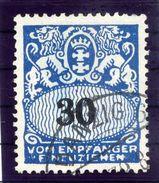 DANZIG 1938 Postage Due 30 Pf. With Swastika Watermark Used.  Michel Porto 44 - Danzig