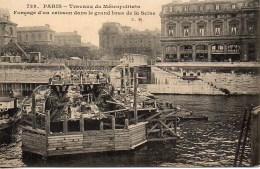 75 PARIS  Travaux Du Métropolitain Fonçage D'un Caisson Dans Le Grand Bras De La Seine - Métro Parisien, Gares
