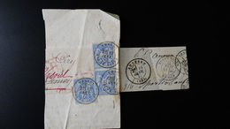 Bande Type Journal Pour Pli Recommandé ( Fragment ) - Bande De 2 + 1 25c Type Sage N°78 - Année 1877 - 1877-1920: Semi Modern Period