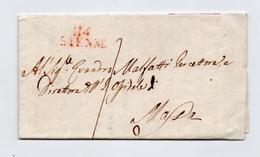 !!! PRIX FIXE : DEPT CONQUIS, 114 DEPT DE L'OMBRONE, MARQUE POSTALE DE SIENNE SUR LETTRE DE 1811 - Postmark Collection (Covers)
