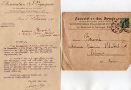 VP11.186 - PARIS - Enveloppe & Lettre De L'Association Des Voyageurs - Société De Secours Mutuels - Bank & Insurance